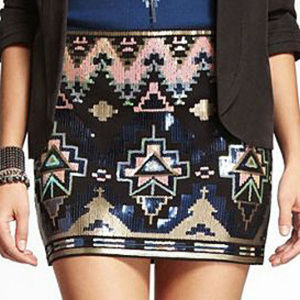 Express Sequin Tribal Mini Skirt - Small - NEW